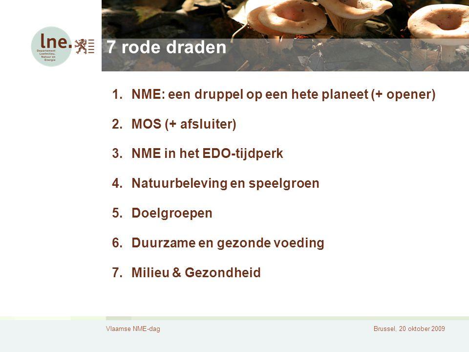Vlaamse NME-dagBrussel, 20 oktober 2009 7 rode draden 1.NME: een druppel op een hete planeet (+ opener) 2.MOS (+ afsluiter) 3.NME in het EDO-tijdperk 4.Natuurbeleving en speelgroen 5.Doelgroepen 6.Duurzame en gezonde voeding 7.Milieu & Gezondheid