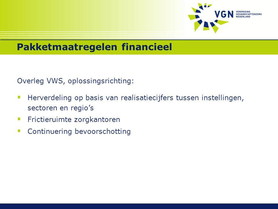 Pakketmaatregelen financieel Overleg VWS, oplossingsrichting:  Herverdeling op basis van realisatiecijfers tussen instellingen, sectoren en regio's  Frictieruimte zorgkantoren  Continuering bevoorschotting
