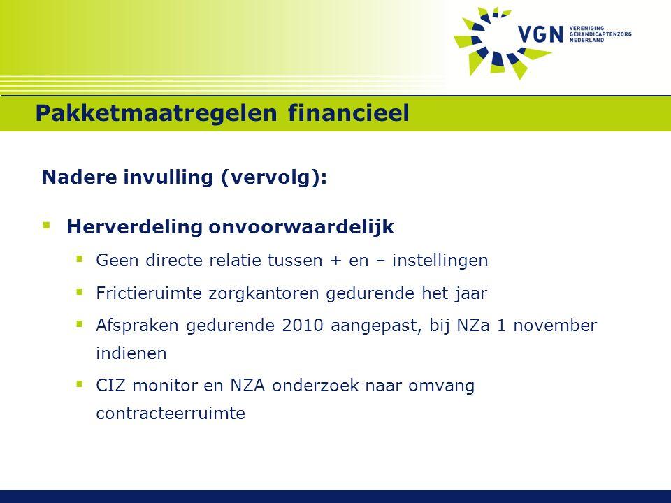 Pakketmaatregelen financieel Nadere invulling (vervolg):  Aantoonbaarheid o.b.v.