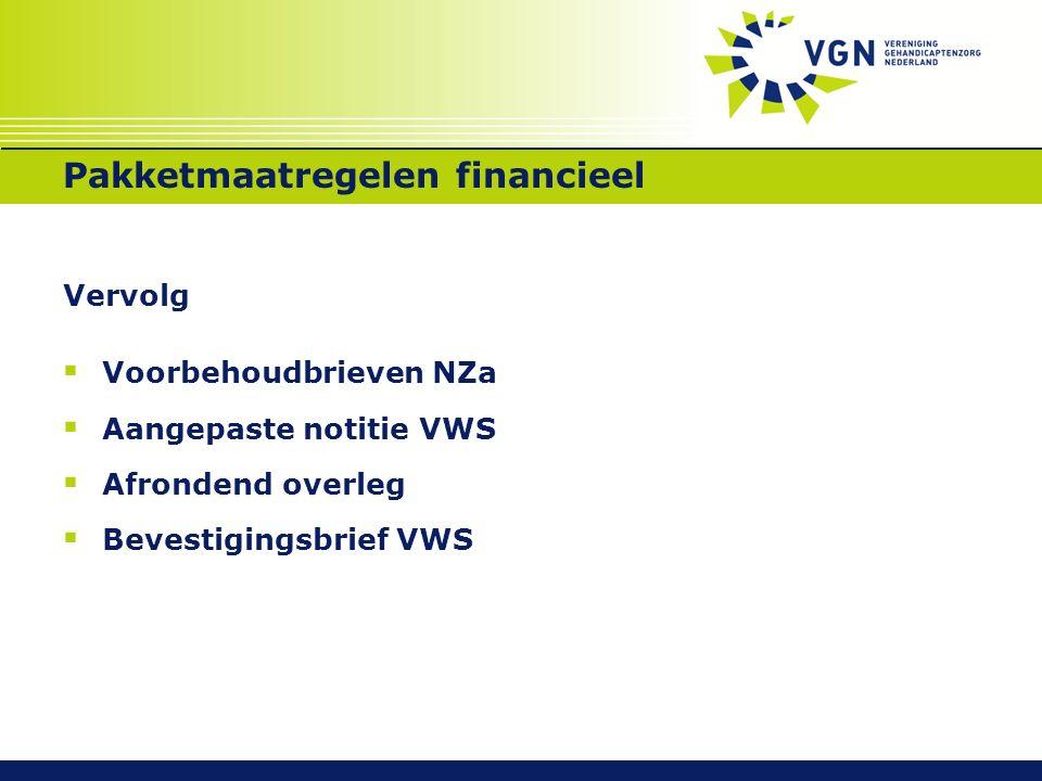 Pakketmaatregelen financieel Vervolg  Voorbehoudbrieven NZa  Aangepaste notitie VWS  Afrondend overleg  Bevestigingsbrief VWS