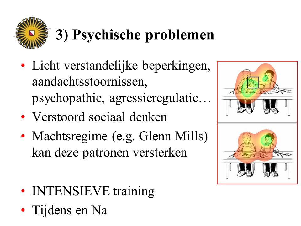 3) Psychische problemen Licht verstandelijke beperkingen, aandachtsstoornissen, psychopathie, agressieregulatie… Verstoord sociaal denken Machtsregime (e.g.