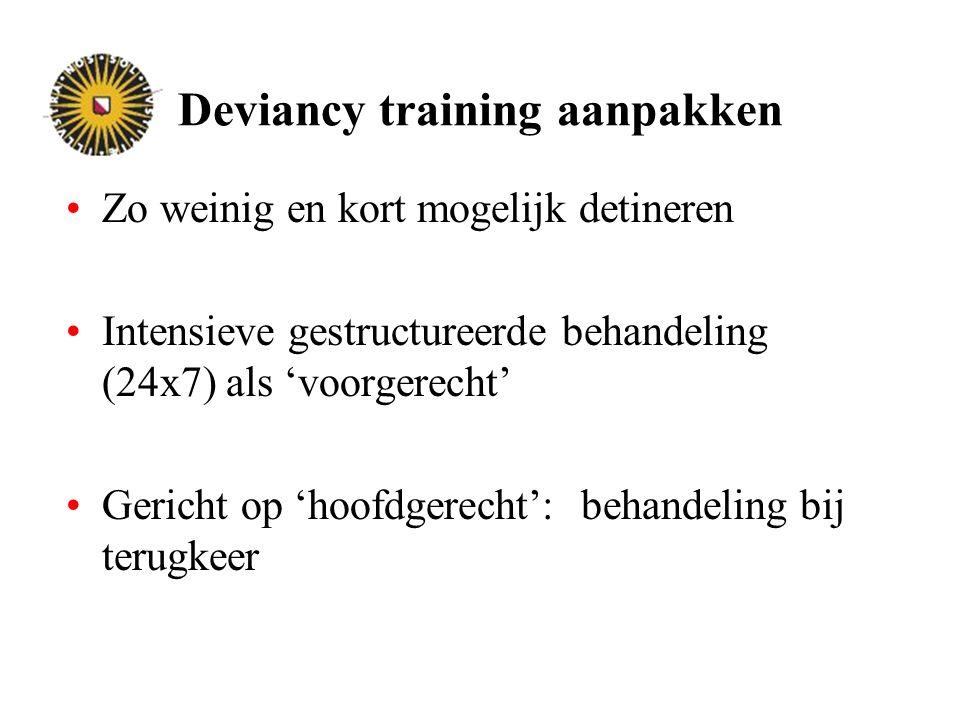 Deviancy training aanpakken Zo weinig en kort mogelijk detineren Intensieve gestructureerde behandeling (24x7) als 'voorgerecht' Gericht op 'hoofdgerecht': behandeling bij terugkeer
