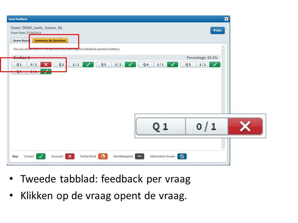 Tweede tabblad: feedback per vraag Klikken op de vraag opent de vraag.
