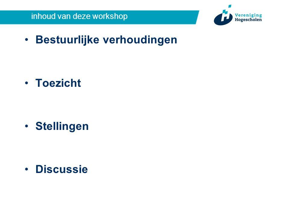 inhoud van deze workshop Bestuurlijke verhoudingen Toezicht Stellingen Discussie