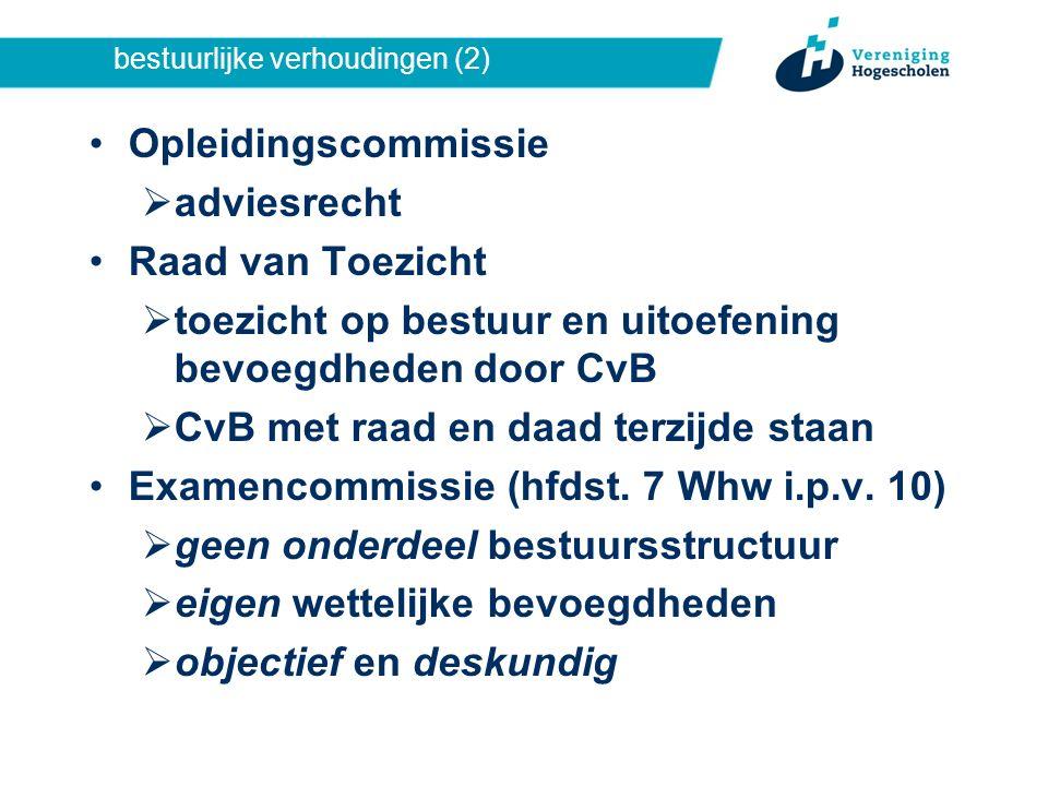bestuurlijke verhoudingen (2) Opleidingscommissie  adviesrecht Raad van Toezicht  toezicht op bestuur en uitoefening bevoegdheden door CvB  CvB met raad en daad terzijde staan Examencommissie (hfdst.