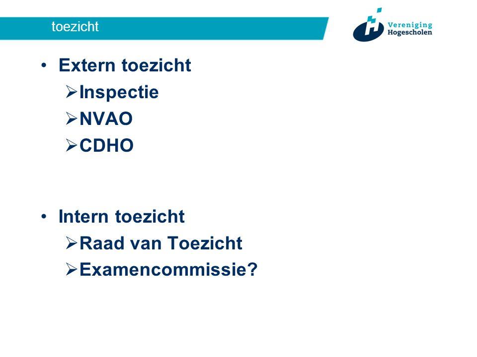 toezicht Extern toezicht  Inspectie  NVAO  CDHO Intern toezicht  Raad van Toezicht  Examencommissie