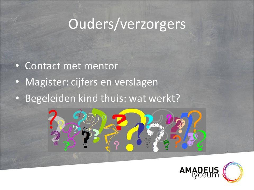 Ouders/verzorgers Contact met mentor Magister: cijfers en verslagen Begeleiden kind thuis: wat werkt