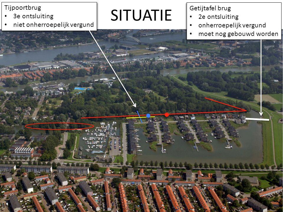 SITUATIE Tijpoortbrug 3e ontsluiting niet onherroepelijk vergund Tijpoortbrug 3e ontsluiting niet onherroepelijk vergund Getijtafel brug 2e ontsluitin
