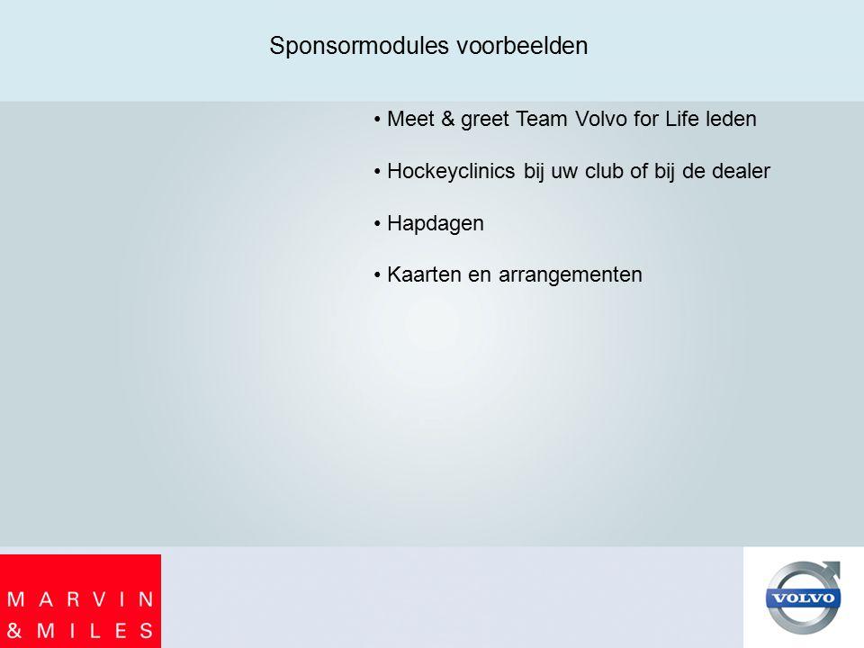 Sponsormodules voorbeelden Meet & greet Team Volvo for Life leden Hockeyclinics bij uw club of bij de dealer Hapdagen Kaarten en arrangementen