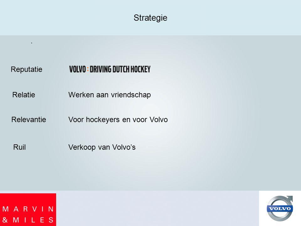 . Strategie Reputatie Relatie Relevantie Ruil Werken aan vriendschap Voor hockeyers en voor Volvo Verkoop van Volvo's