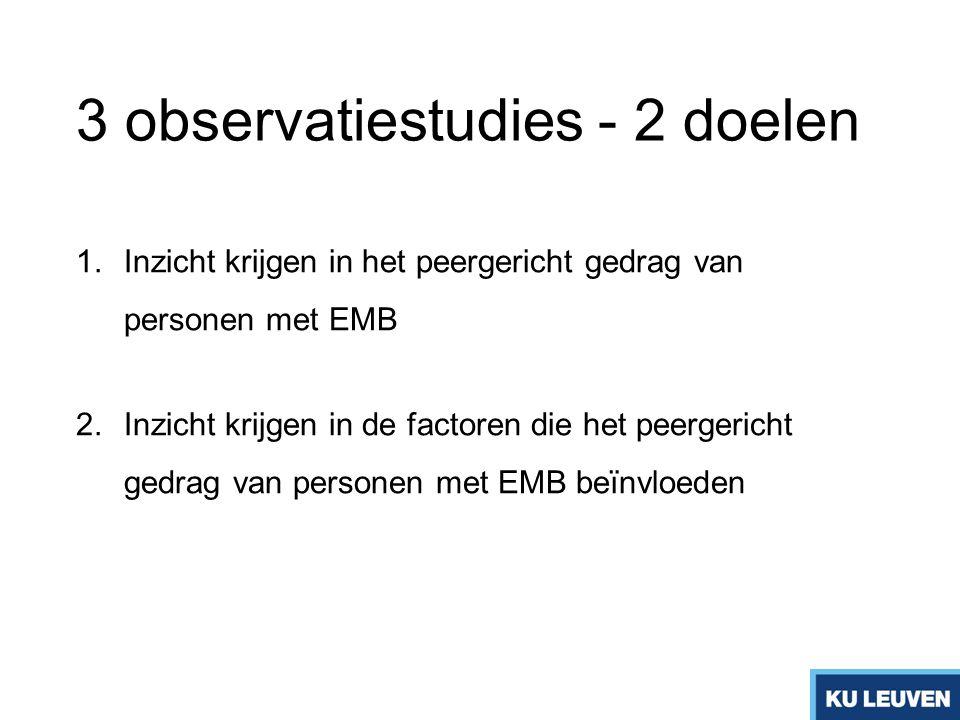 3 observatiestudies - 2 doelen 1.Inzicht krijgen in het peergericht gedrag van personen met EMB 2.Inzicht krijgen in de factoren die het peergericht g