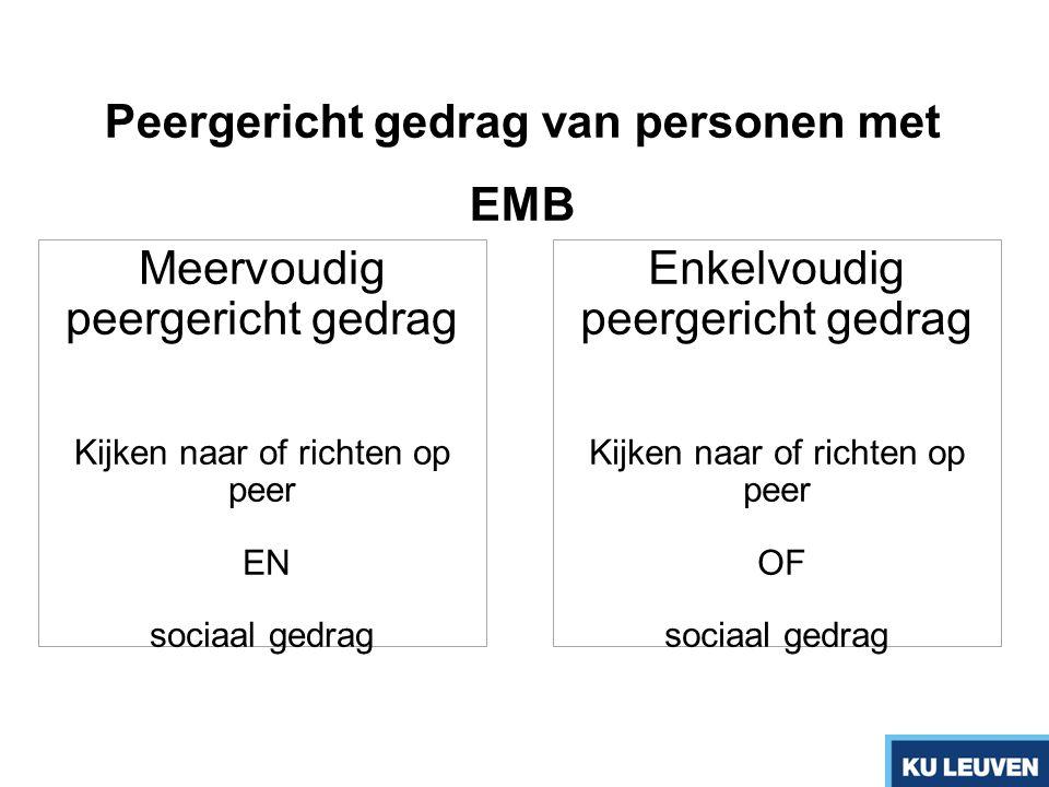 Peergericht gedrag van personen met EMB Meervoudig peergericht gedrag Kijken naar of richten op peer EN sociaal gedrag Enkelvoudig peergericht gedrag