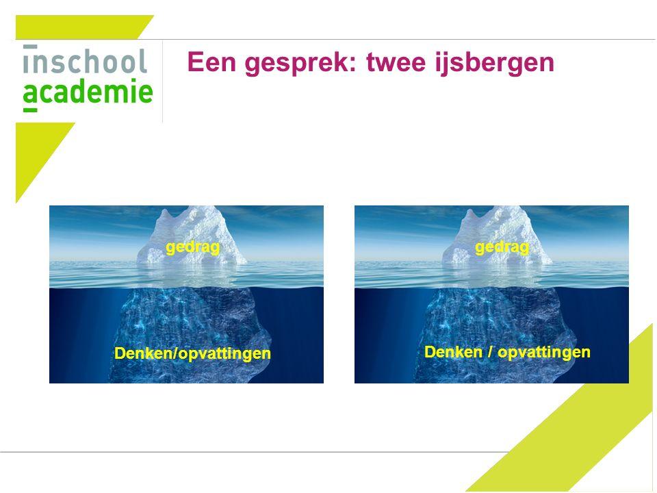 Een gesprek: twee ijsbergen gedrag Denken/opvattingen