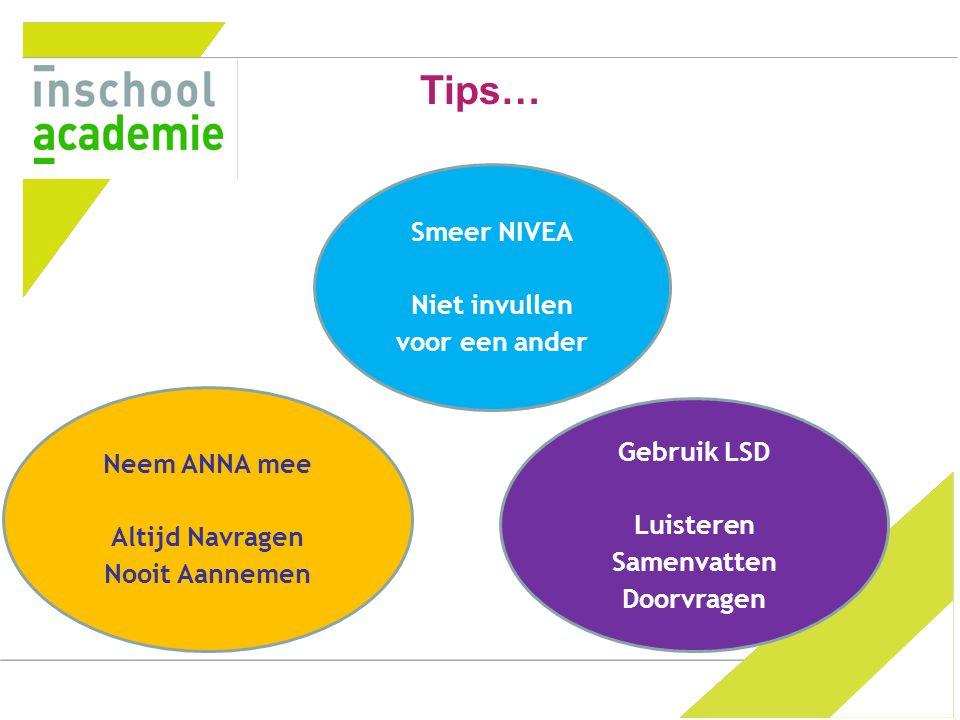 Tips… Gebruik LSD Luisteren Samenvatten Doorvragen Neem ANNA mee Altijd Navragen Nooit Aannemen Smeer NIVEA Niet invullen voor een ander