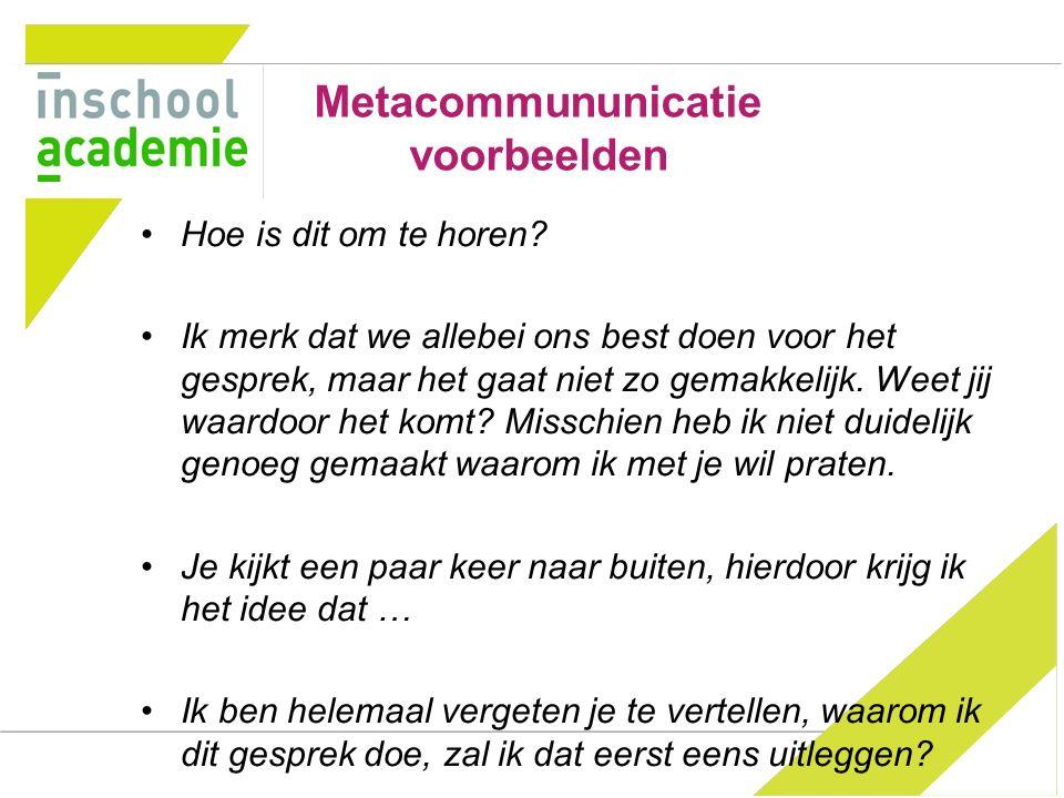 Metacommununicatie voorbeelden Hoe is dit om te horen.