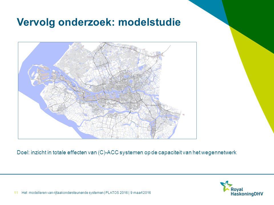 Het modelleren van rijtaakondersteunende systemen | PLATOS 2016 | 9 maart 2016 Vervolg onderzoek: modelstudie 11 Doel: inzicht in totale effecten van (C)-ACC systemen op de capaciteit van het wegennetwerk