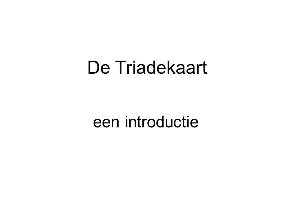 De Triadekaart een introductie