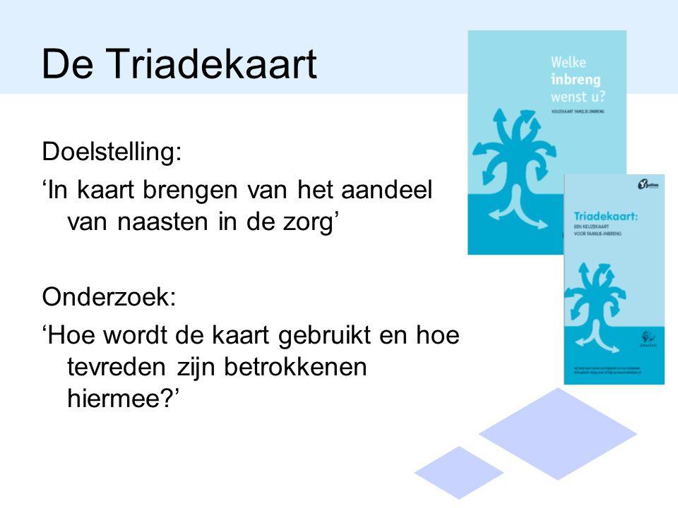 De Triadekaart Doelstelling: 'In kaart brengen van het aandeel van naasten in de zorg' Onderzoek: 'Hoe wordt de kaart gebruikt en hoe tevreden zijn betrokkenen hiermee '