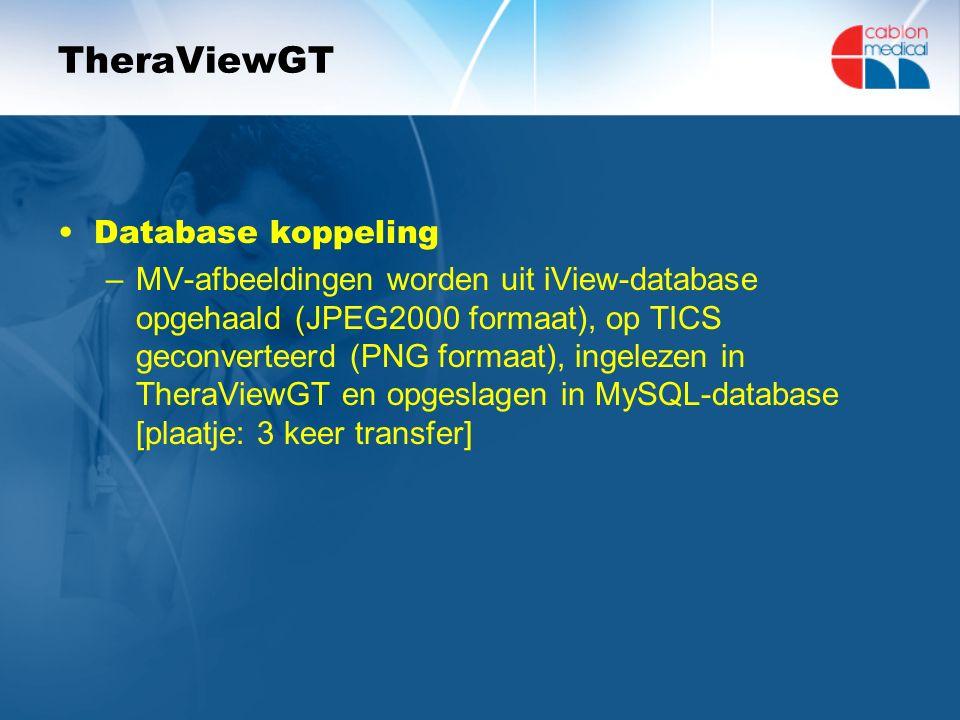 TheraViewGT Database koppeling –MV-afbeeldingen worden uit iView-database opgehaald (JPEG2000 formaat), op TICS geconverteerd (PNG formaat), ingelezen in TheraViewGT en opgeslagen in MySQL-database [plaatje: 3 keer transfer]