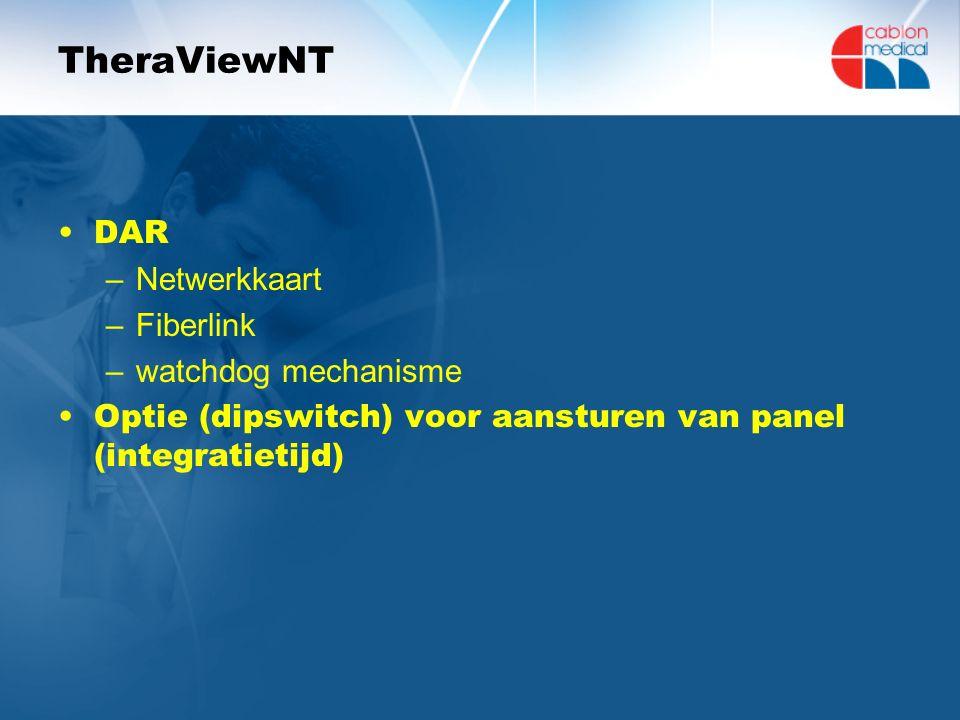 TheraViewNT DAR –Netwerkkaart –Fiberlink –watchdog mechanisme Optie (dipswitch) voor aansturen van panel (integratietijd)