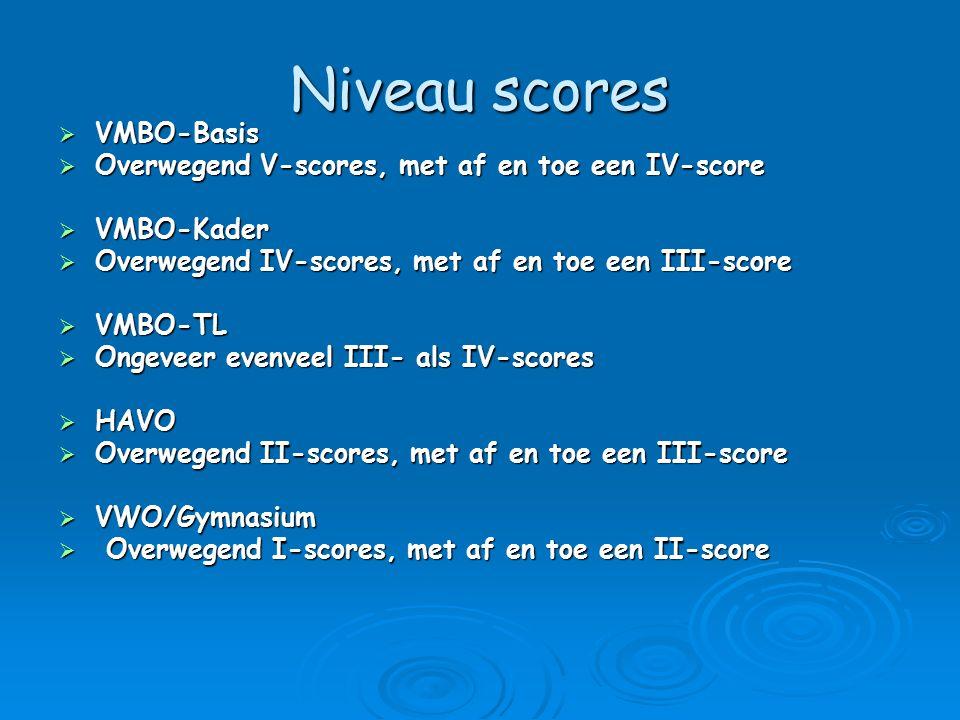 Niveau scores  VMBO-Basis  Overwegend V-scores, met af en toe een IV-score  VMBO-Kader  Overwegend IV-scores, met af en toe een III-score  VMBO-T