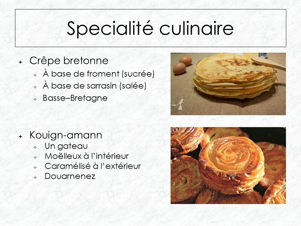  Crêpe bretonne  À base de froment (sucrée)  À base de sarrasin (salée)  Basse–Bretagne Specialité culinaire  Kouign-amann  Un gateau  Moëlleux à l'intérieur  Caramélisé à l'extérieur  Douarnenez