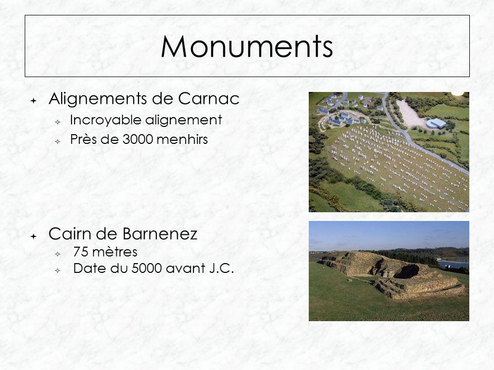 Monuments  Alignements de Carnac  Incroyable alignement  Près de 3000 menhirs  Cairn de Barnenez  75 mètres  Date du 5000 avant J.C.