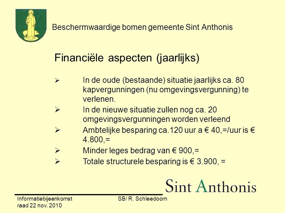 Informatiebijeenkomst raad 22 nov. 2010 SB/ R. Schleedoorn Beschermwaardige bomen gemeente Sint Anthonis Financiële aspecten (jaarlijks)  In de oude