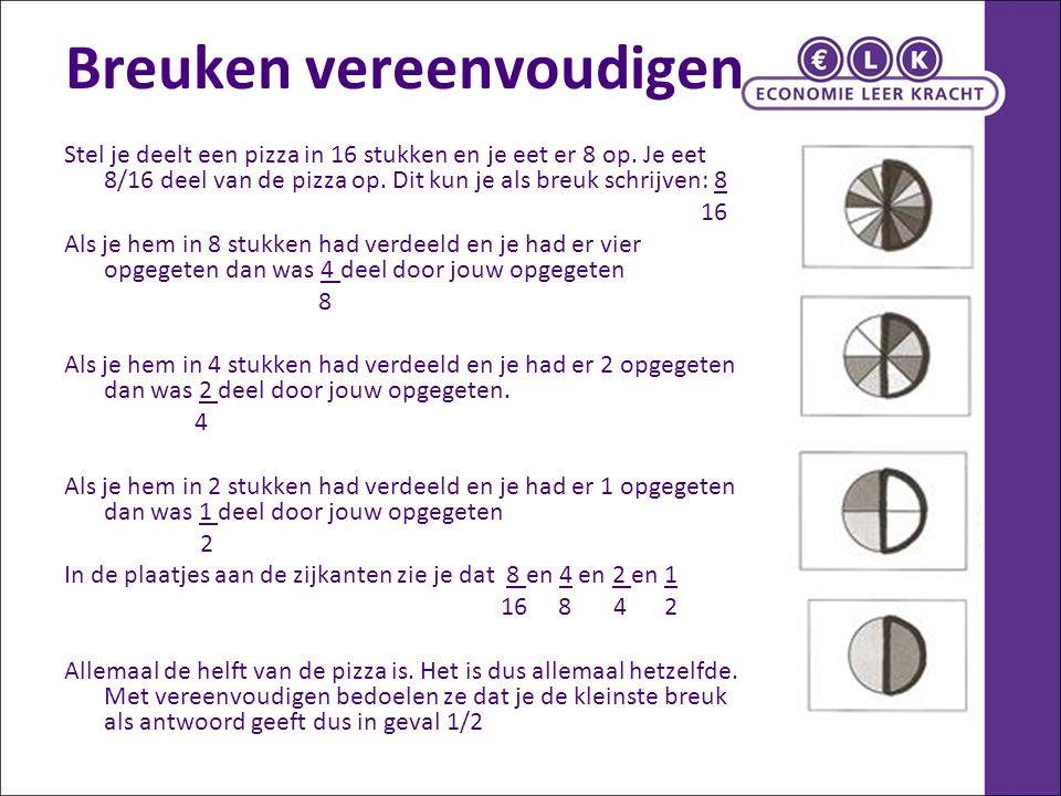 Vereenvoudigen (2) Als je de teller en de noemer door hetzelfde getal kunt delen verandert de waarde niet.
