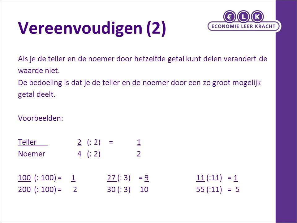 Vereenvoudigen (2) Als je de teller en de noemer door hetzelfde getal kunt delen verandert de waarde niet. De bedoeling is dat je de teller en de noem
