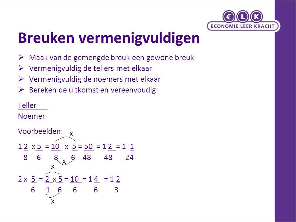 Breuken delen  Maak van de gemengde breuk een gewone breuk  Delen = vermenigvuldigen met het omgekeerde Dit betekent dat je de tweede breuk omdraait en hetzelfde doet als met vermenigvuldigen  Vermenigvuldig de tellers met elkaar  Vermenigvuldig de noemers met elkaar  Bereken de uitkomst en vereenvoudig Voorbeeld: 1 2 : 5 = 10 x 6 = 60 = 1 20 = 1 1 8 6 8 5 40 40 2