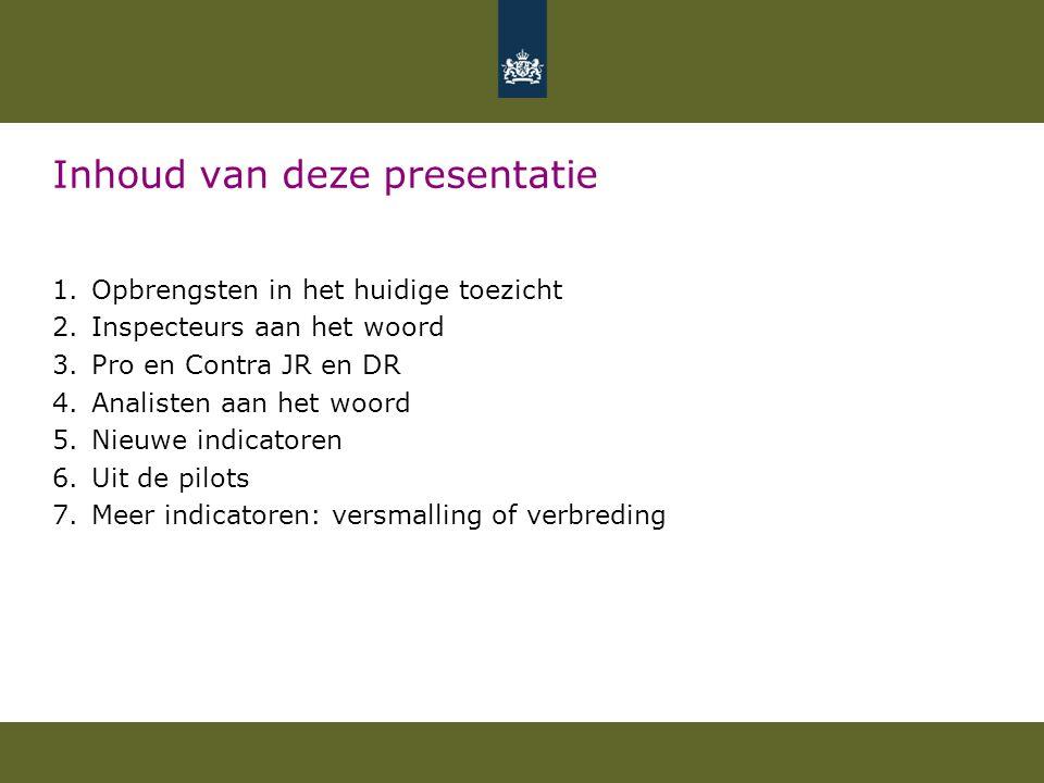 Inhoud van deze presentatie 1.Opbrengsten in het huidige toezicht 2.Inspecteurs aan het woord 3.Pro en Contra JR en DR 4.Analisten aan het woord 5.Nie