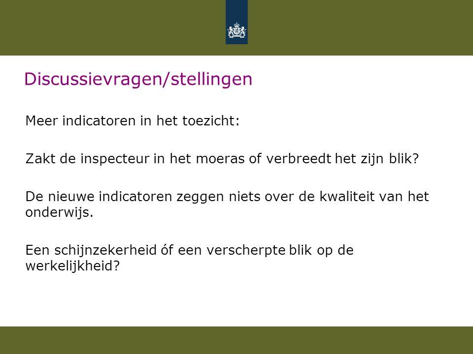 Discussievragen/stellingen Meer indicatoren in het toezicht: Zakt de inspecteur in het moeras of verbreedt het zijn blik? De nieuwe indicatoren zeggen