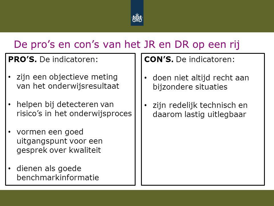 De pro's en con's van het JR en DR op een rij PRO'S. De indicatoren: zijn een objectieve meting van het onderwijsresultaat helpen bij detecteren van r