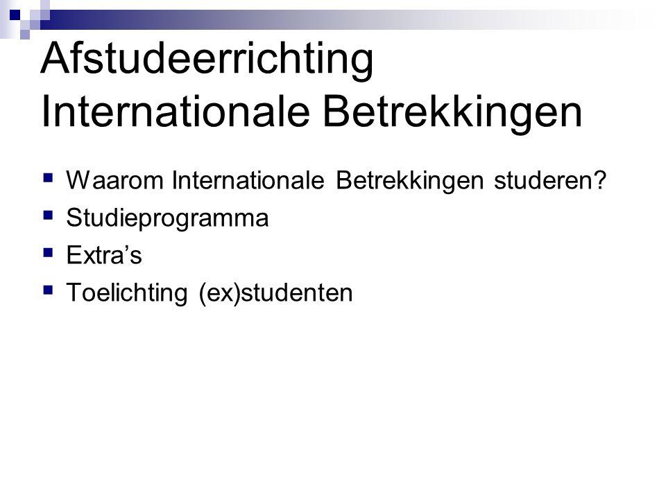 Afstudeerrichting Internationale Betrekkingen  Waarom Internationale Betrekkingen studeren?  Studieprogramma  Extra's  Toelichting (ex)studenten