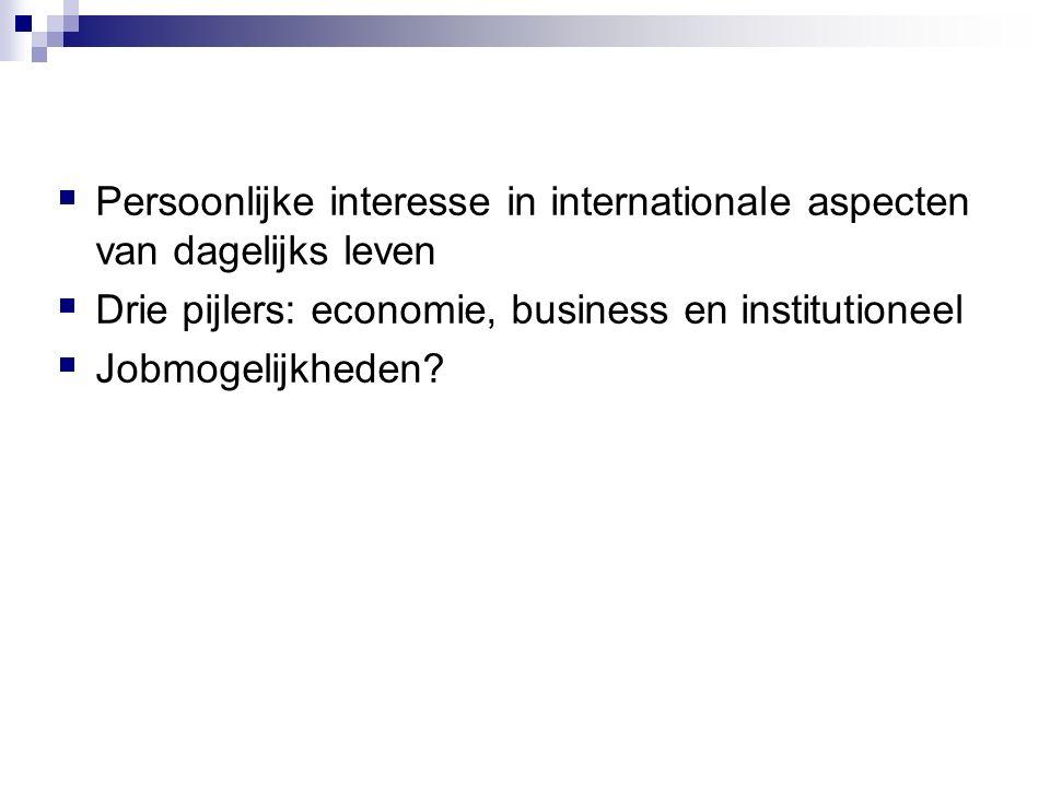  Persoonlijke interesse in internationale aspecten van dagelijks leven  Drie pijlers: economie, business en institutioneel  Jobmogelijkheden?