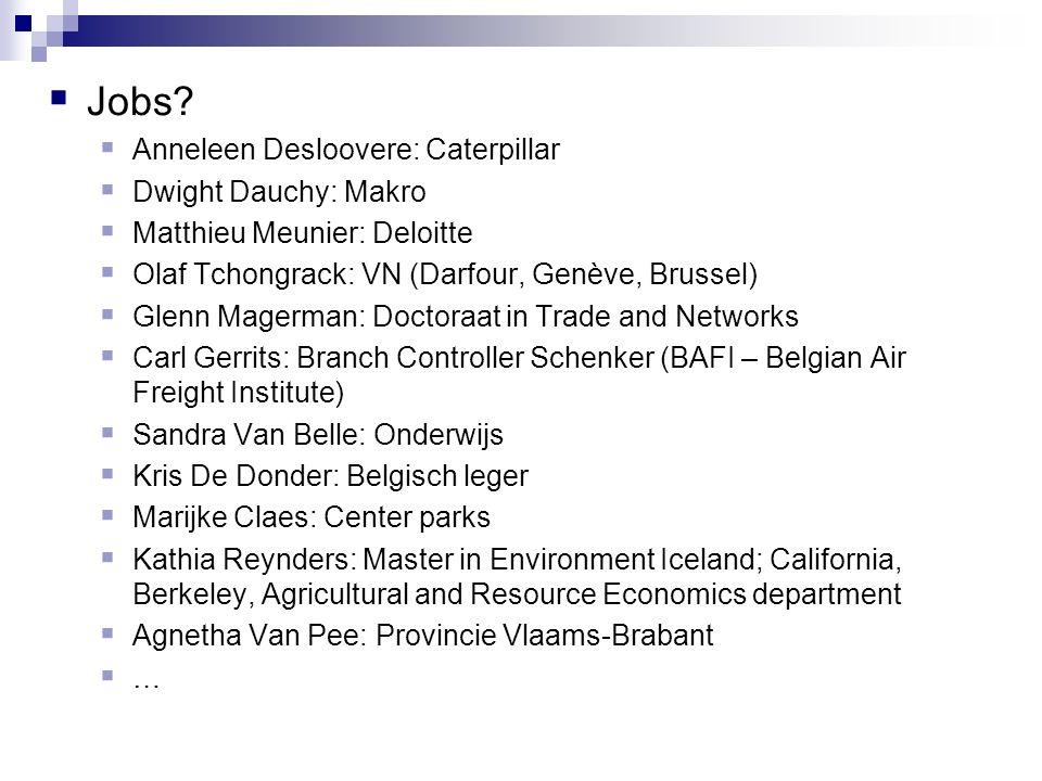  Jobs?  Anneleen Desloovere: Caterpillar  Dwight Dauchy: Makro  Matthieu Meunier: Deloitte  Olaf Tchongrack: VN (Darfour, Genève, Brussel)  Glen
