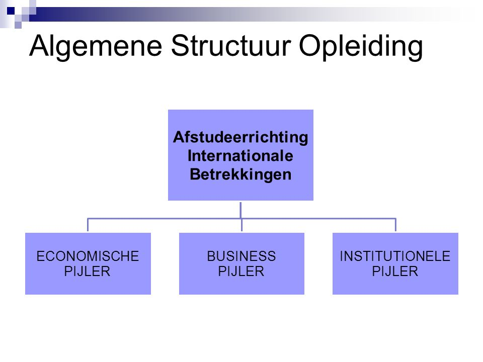 Algemene Structuur Opleiding Afstudeerrichting Internationale Betrekkingen ECONOMISCHE PIJLER BUSINESS PIJLER INSTITUTIONELE PIJLER