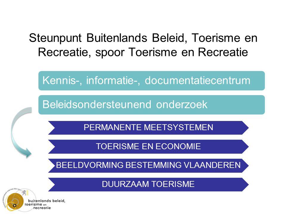 Steunpunt Buitenlands Beleid, Toerisme en Recreatie, spoor Toerisme en Recreatie PERMANENTE MEETSYSTEMEN TOERISME EN ECONOMIE BEELDVORMING BESTEMMING VLAANDEREN DUURZAAM TOERISME Kennis-, informatie-, documentatiecentrum Beleidsondersteunend onderzoek