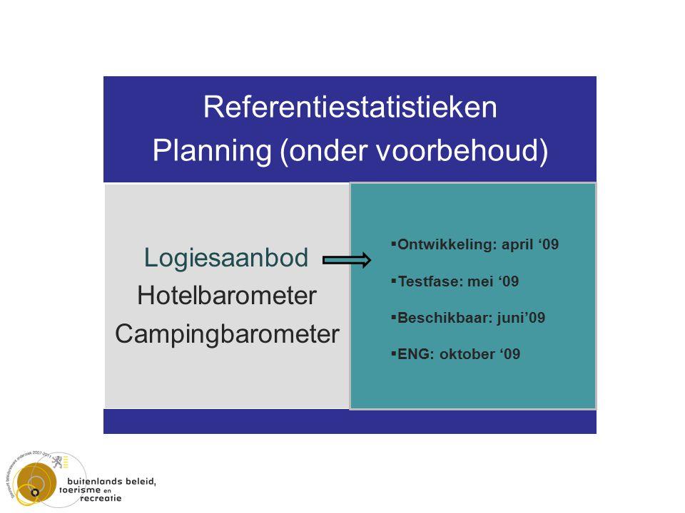 Referentiestatistieken Planning (onder voorbehoud) Logiesaanbod Hotelbarometer Campingbarometer Attractieaanbod Attractiebarometer  Ontwikkeling: april '09  Testfase: mei '09  Beschikbaar: juni'09  ENG: oktober '09