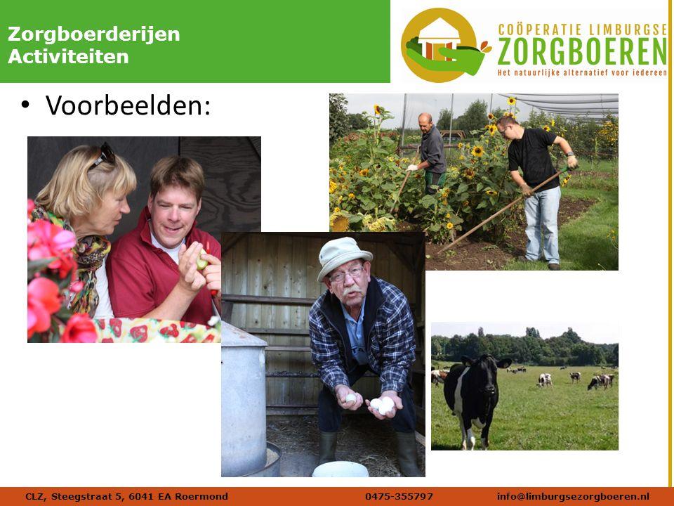 Naam afbeelding Verdana 20 DIKZorgboerderijen Activiteiten Voorbeelden: CLZ, Steegstraat 5, 6041 EA Roermond 0475-355797info@limburgsezorgboeren.nl