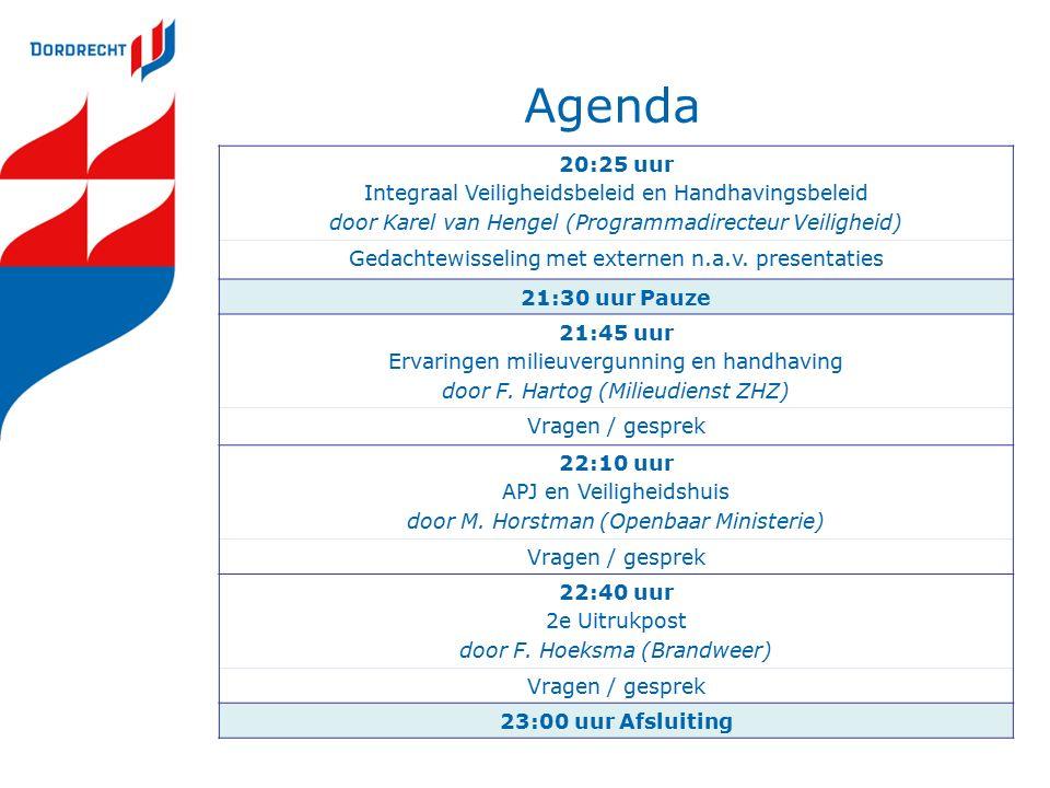 Agenda 20:25 uur Integraal Veiligheidsbeleid en Handhavingsbeleid door Karel van Hengel (Programmadirecteur Veiligheid) Gedachtewisseling met externen n.a.v.