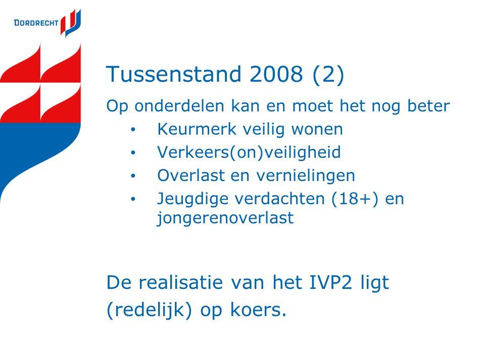 Tussenstand 2008 (2) Op onderdelen kan en moet het nog beter Keurmerk veilig wonen Verkeers(on)veiligheid Overlast en vernielingen Jeugdige verdachten (18+) en jongerenoverlast De realisatie van het IVP2 ligt (redelijk) op koers.