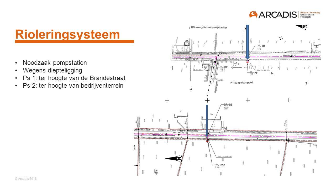 © Arcadis 2016 Rioleringsysteem Noodzaak pompstation Wegens diepteligging Ps 1: ter hoogte van de Brandestraat Ps 2: ter hoogte van bedrijventerrein
