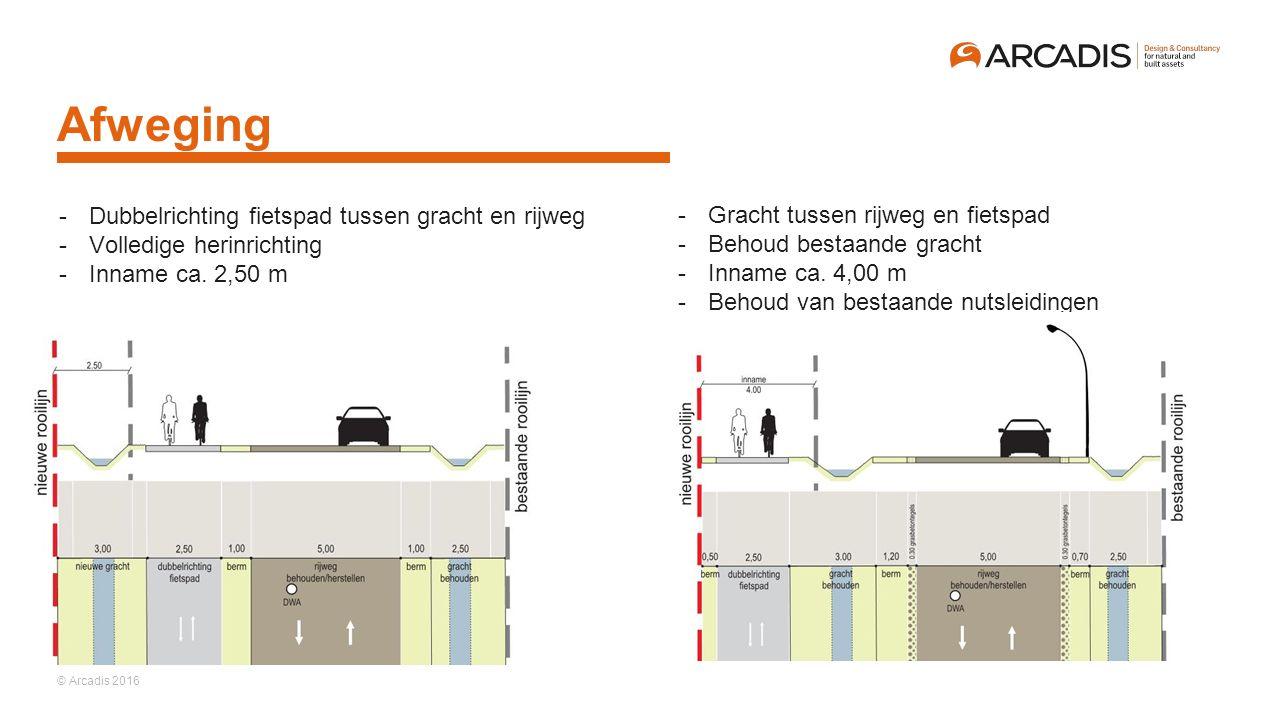 © Arcadis 2016 Afweging -Dubbelrichting fietspad tussen gracht en rijweg -Volledige herinrichting -Inname ca. 2,50 m -Gracht tussen rijweg en fietspad