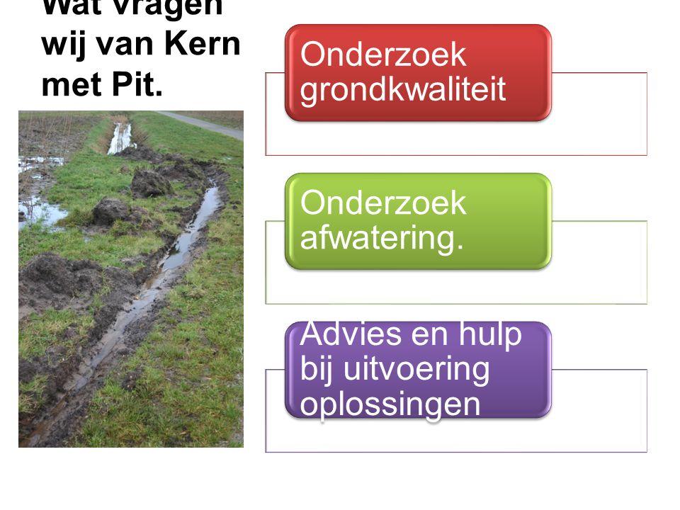 Wat vragen wij van Kern met Pit. Onderzoek grondkwaliteit Onderzoek afwatering.