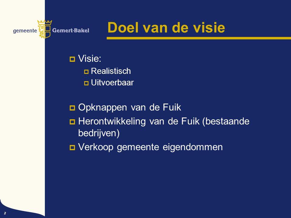 2 Doel van de visie  Visie:  Realistisch  Uitvoerbaar  Opknappen van de Fuik  Herontwikkeling van de Fuik (bestaande bedrijven)  Verkoop gemeente eigendommen