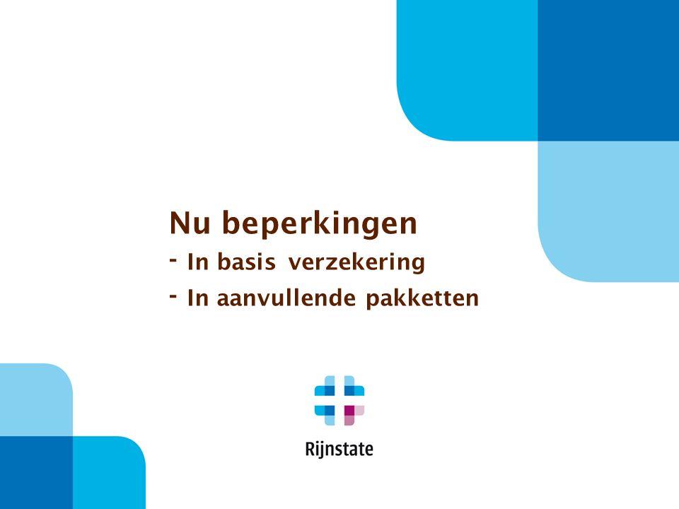 Nu beperkingen - In basis verzekering - In aanvullende pakketten