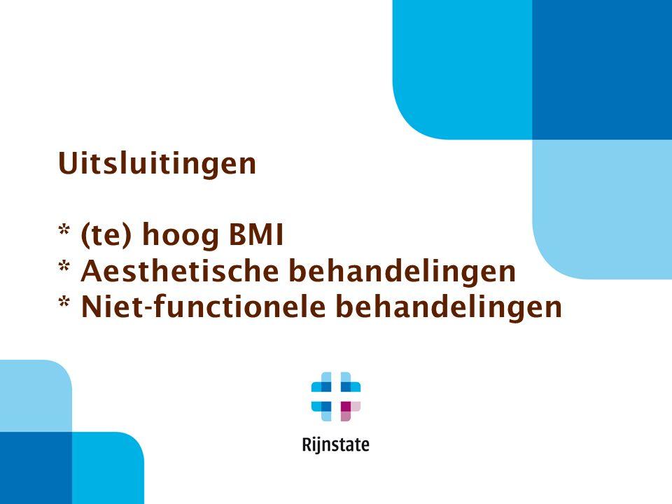 Uitsluitingen * (te) hoog BMI * Aesthetische behandelingen * Niet-functionele behandelingen