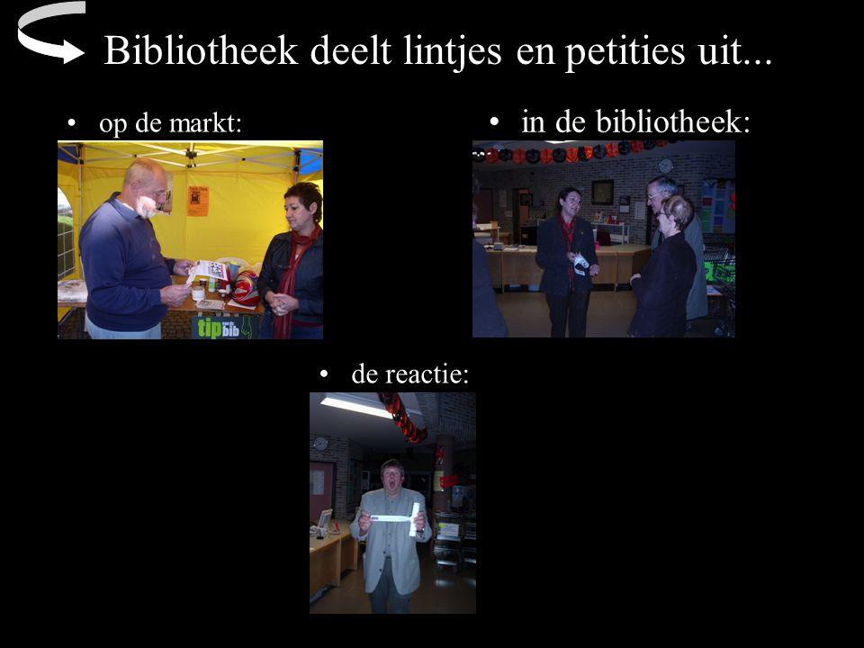 Bibliotheek deelt lintjes en petities uit... op de markt: de reactie: in de bibliotheek: